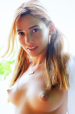 Redhead Agatha Vega Displays Her Shaved Pussy With A Carefree Smile